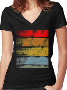Retro Wood Women's Fitted V-Neck T-Shirt