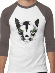 Black Cat Face  Men's Baseball ¾ T-Shirt