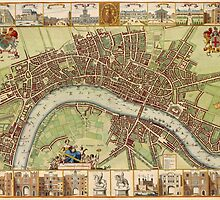 Vintage Map of London England (16th Century) by BravuraMedia