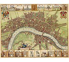 Vintage Map of London England (16th Century) Photographic Print