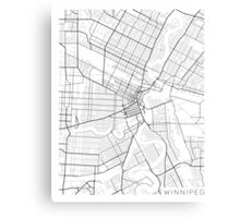 Winnipeg Map, Canada - Black and White Canvas Print