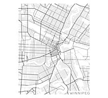 Winnipeg Map, Canada - Black and White Photographic Print
