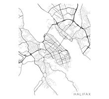 Halifax Map, Canada - Black and White Photographic Print