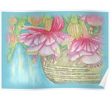 Fuschia Basket Misted Watercolor  Poster