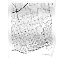 Toronto Map, Canada - Black and White Poster