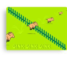Jumping Pigs Canvas Print