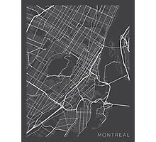 Montreal Map, Canada - Gray Photographic Print