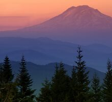 Mt Adams Sunset atop the Cascade Range by Bill Lane