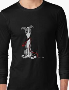 Cool Funny Greyhound Dog with Red Leash Long Sleeve T-Shirt