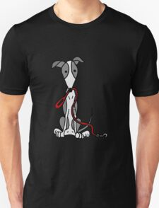 Cool Funny Greyhound Dog with Red Leash Unisex T-Shirt