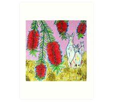 Kangaroos with Bottlebrush Art Print