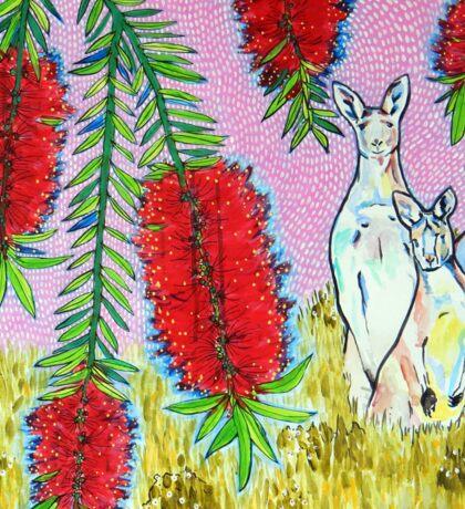 Kangaroos with Bottlebrush Sticker