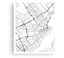 Quebec City Map, Canada - Black and White Canvas Print