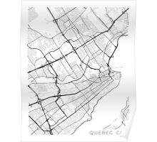 Quebec City Map, Canada - Black and White Poster