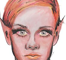 Elven Twiggy Ink Portrait by taylorstarnes
