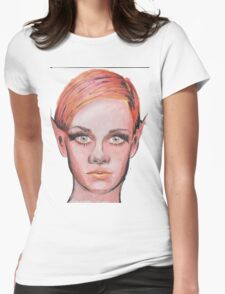 Elven Twiggy Ink Portrait Womens Fitted T-Shirt