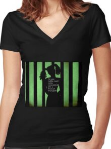 Harley Quinn Green Women's Fitted V-Neck T-Shirt