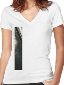 Pitch Black. Vintage Italian Leather Women's Fitted V-Neck T-Shirt
