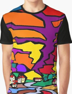 Abstract Village Town Scene Graphic T-Shirt