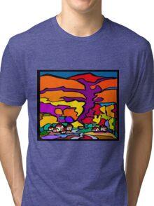 Abstract Village Town Scene Tri-blend T-Shirt