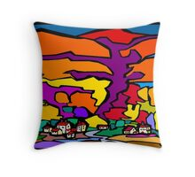 Abstract Village Town Scene Throw Pillow