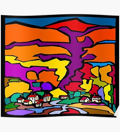 Abstract Village Town Scene Poster