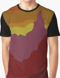 Abstract Sunset Landscape Mountain Scene Graphic T-Shirt