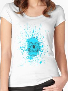 Skull: Cool Blue Women's Fitted Scoop T-Shirt