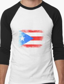 Puerto Rico State Flag Distressed Vintage Shirt Men's Baseball ¾ T-Shirt