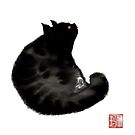 Black cat in silhouette with dragonfly. by Mary Taylor