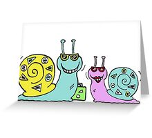 Cool Snails - off on holiday Greeting Card