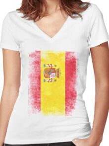 Spain Flag Proud Spanish Vintage Distressed Shirt Women's Fitted V-Neck T-Shirt