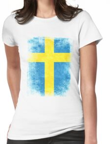 Sweden Flag Proud Swedish Vintage Distressed Shirt Womens Fitted T-Shirt