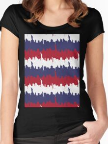 NY USA Skyline in Red White & Blue Stripes NYC New York Manhattan Skyline Silhouette Women's Fitted Scoop T-Shirt