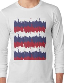NY USA Skyline in Red White & Blue Stripes NYC New York Manhattan Skyline Silhouette Long Sleeve T-Shirt