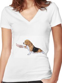 Human hand holding beagle's leg Women's Fitted V-Neck T-Shirt