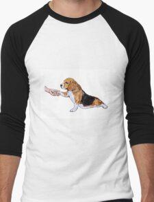 Human hand holding beagle's leg Men's Baseball ¾ T-Shirt