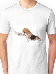 Human hand holding beagle's leg Unisex T-Shirt
