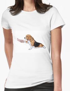 Human hand holding beagle's leg Womens Fitted T-Shirt