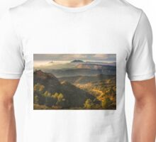 Mountain view with haze and evening light Unisex T-Shirt