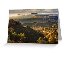 Mountain view with haze and evening light Greeting Card
