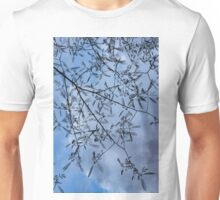 Graceful Lace in the Sky - Mimosa Leaves and Buds Against Dusk Clouds - Vertical View Downwards Left Unisex T-Shirt