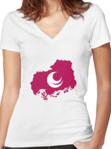Flag Map of Hiroshima Prefecture  Women's Fitted V-Neck T-Shirt