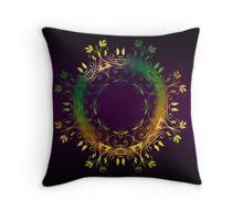 Yellow, green, fairy circles on purple (cushion) Throw Pillow