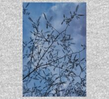 Graceful Lace in the Sky - Mimosa Leaves and Buds Against Dusk Clouds - Vertical View Upwards Left Kids Tee