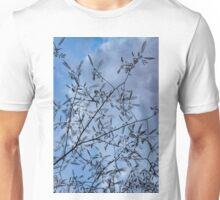 Graceful Lace in the Sky - Mimosa Leaves and Buds Against Dusk Clouds - Vertical View Upwards Left Unisex T-Shirt