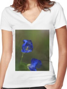 Blue Flowers Women's Fitted V-Neck T-Shirt