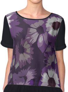 Purple Flower Print Chiffon Top