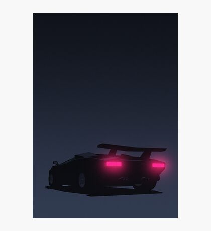 Lamborghini Countach tail lights (Blue) Photographic Print