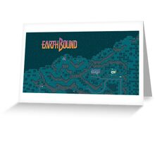 Earthbound - Onett Cliffs at Night with Logo Greeting Card